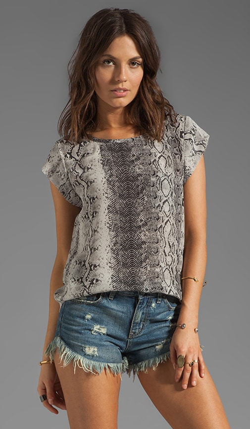 Rancher Irregular Snake Silk Print Top