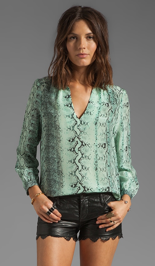 Pearline Irregular Snake Silk Print Blouse