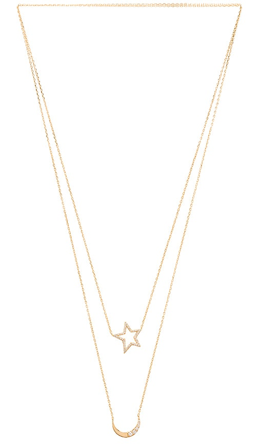 joolz by Martha Calvo Star & Moon Scapulary Necklace in Gold Vermeil