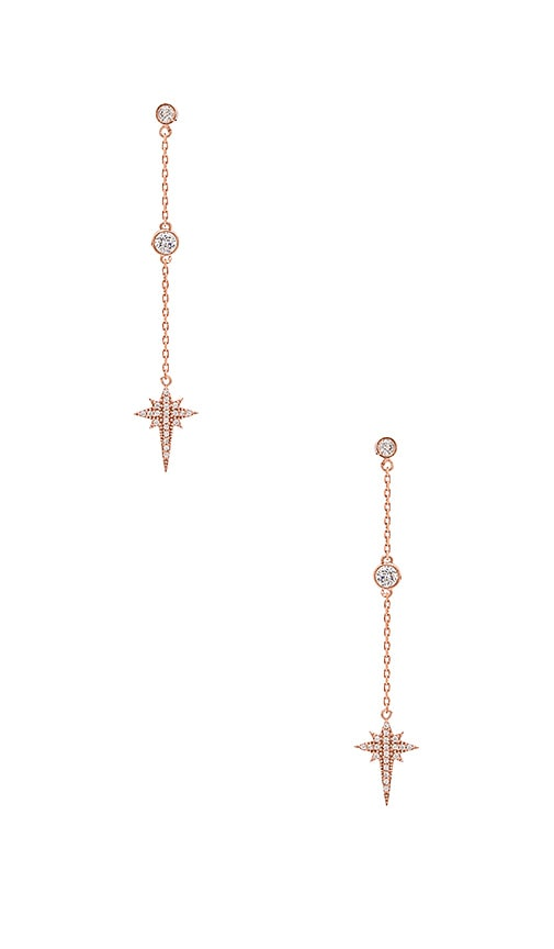 joolz by Martha Calvo Starlight Bezel Chain Earrings in Rose Gold