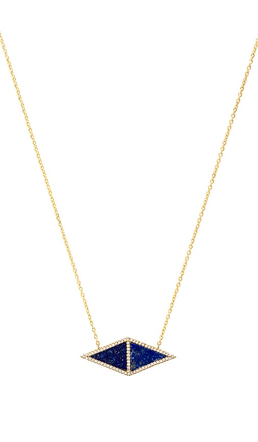 joolz by Martha Calvo Double Triangle Gemstone Necklace in Blue Lapis