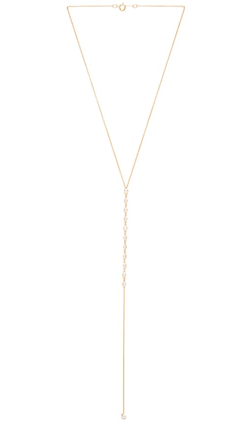 joolz by Martha Calvo Bezel Bar Lariat Necklace in Metallic Gold