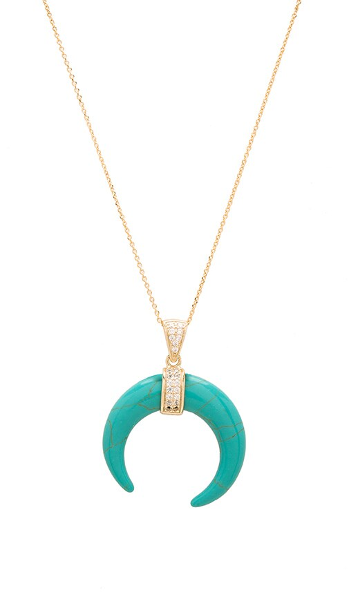 joolz by Martha Calvo Turquoise Crescent Moon Necklace in Metallic Gold