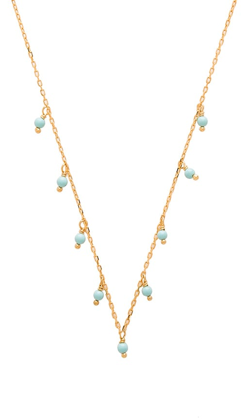 joolz by Martha Calvo Turquoise Dangle Choker in Metallic Gold