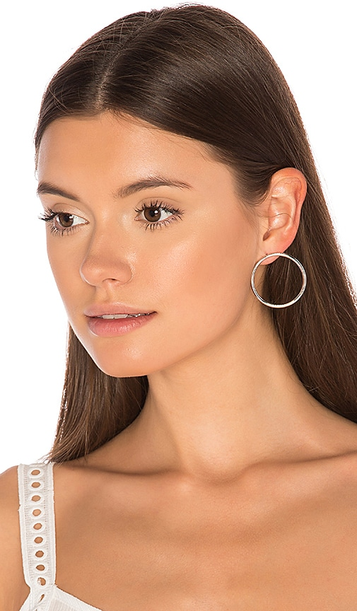 joolz by Martha Calvo Facade Front Hoop Earrings in Metallic Silver