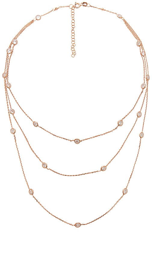 joolz by Martha Calvo Multi Bezel 3 Layer Necklace in Metallic Copper