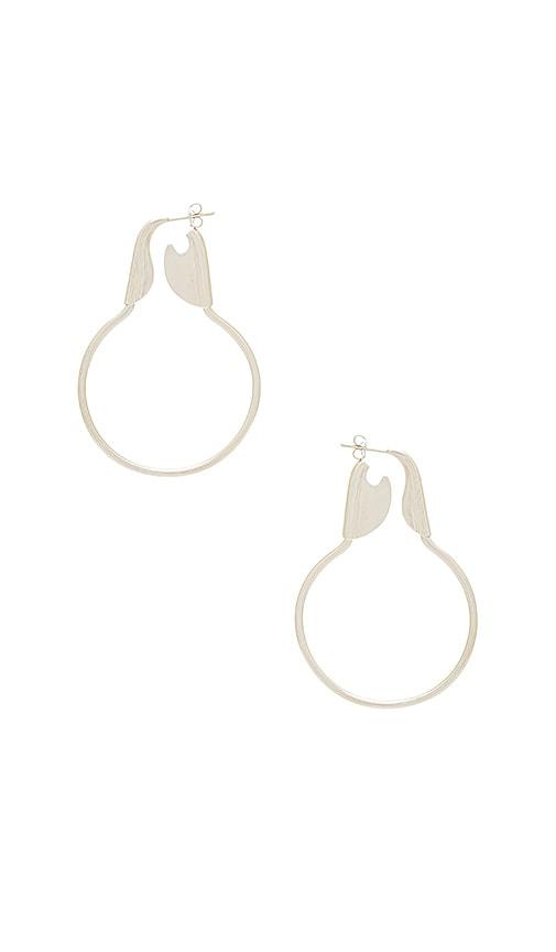 joolz by Martha Calvo Safety Hoop Earrings in Metallic Silver