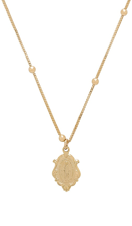joolz by Martha Calvo Victorian Miraculous Mary Necklace in Metallic Gold