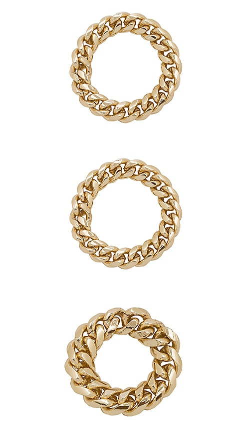 joolz by Martha Calvo Chain Link Rings in Metallic Gold