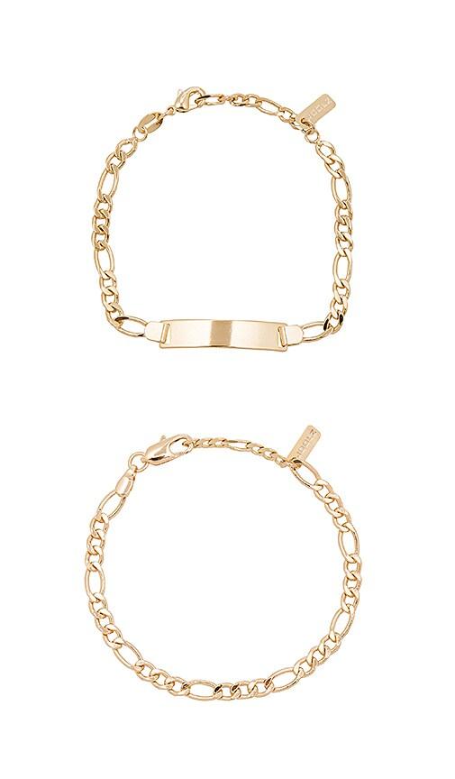 joolz by Martha Calvo ID Bracelet Set in Metallic Gold