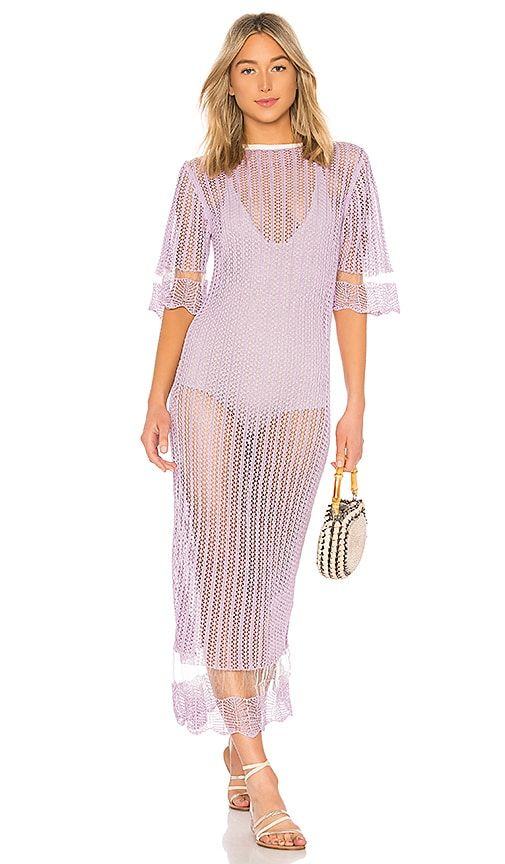 Joseph Pointelle Mix T Shirt Dress in Lavender
