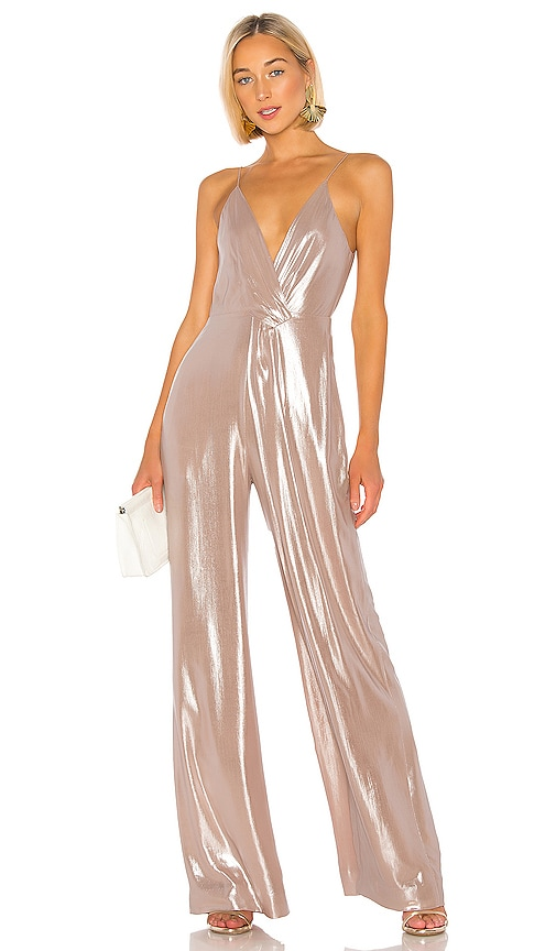 Metallic Chiffon Tie Back Jumpsuit