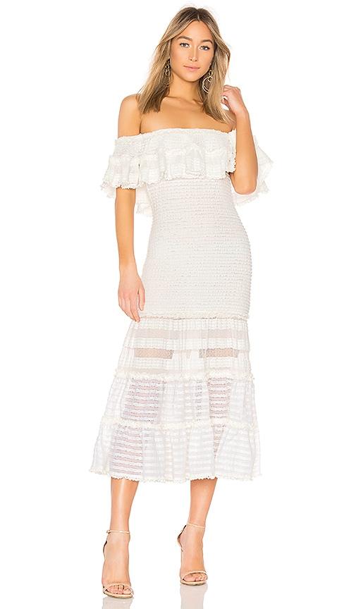 JONATHAN SIMKHAI Off Shoulder Dress in White