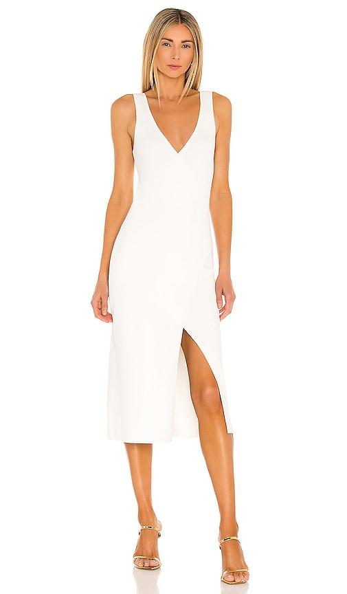 Jonathan Simkhai Deep Rib Wrap Dress In White