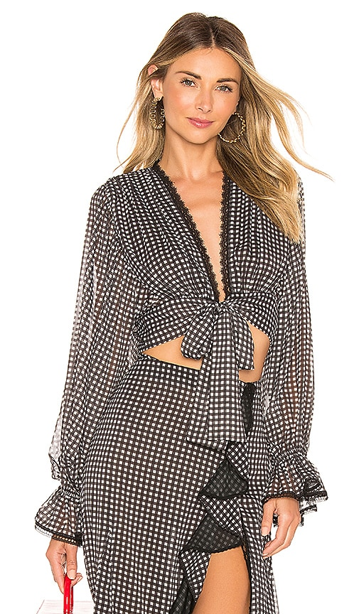 Gingham Front Tie Ruffle Sleeve Blouse