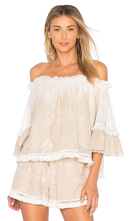 JONATHAN SIMKHAI Off the Shoulder Top in Ivory