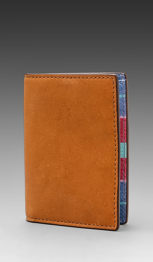 Madras Printed Leather Vertical Flap Wallet
