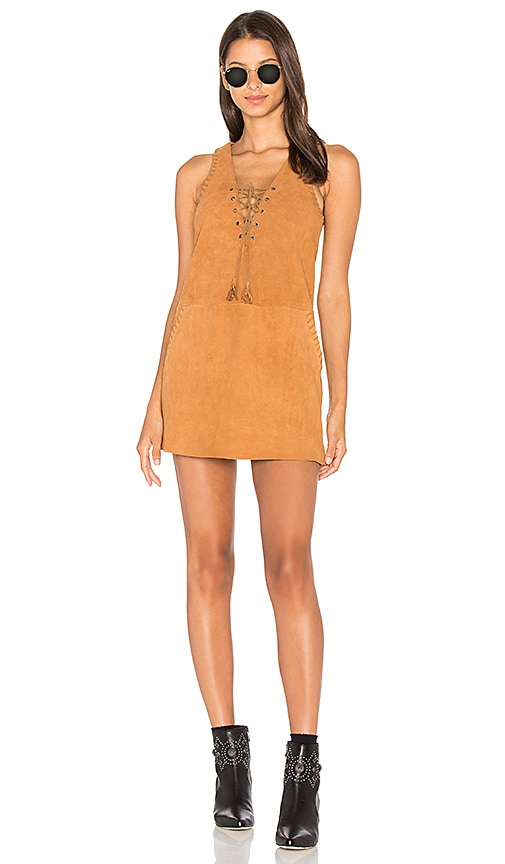 THE JETSET DIARIES Hazan Suede Dress in Burnt Orange