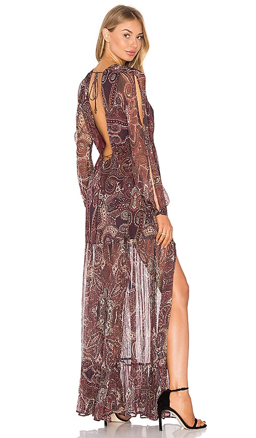 THE JETSET DIARIES Labyrinth Paisley Maxi Dress in Burgundy