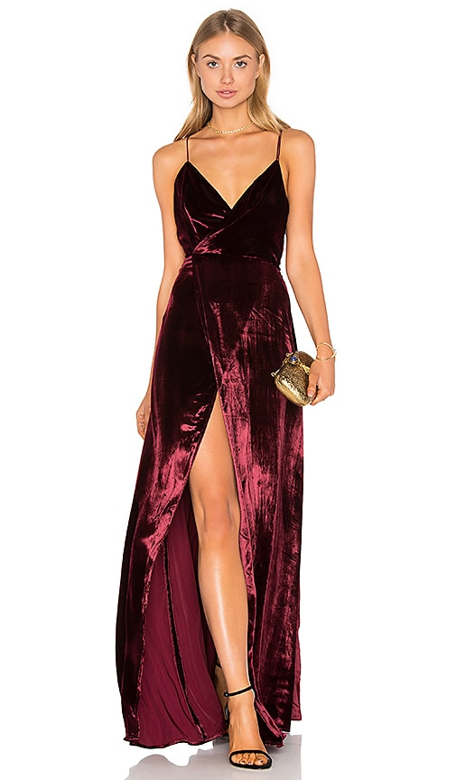 THE JETSET DIARIES Atlas Maxi Dress in Burgundy