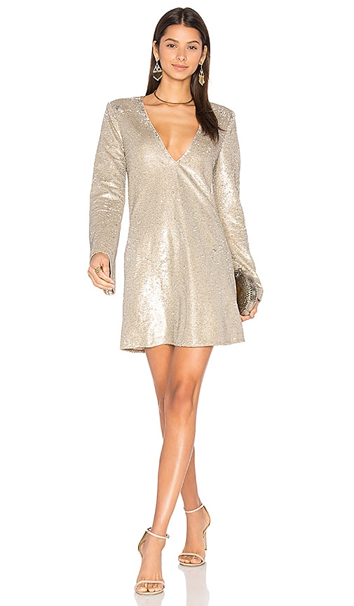 THE JETSET DIARIES Gold Diamond Long Sleeve Dress in Beige