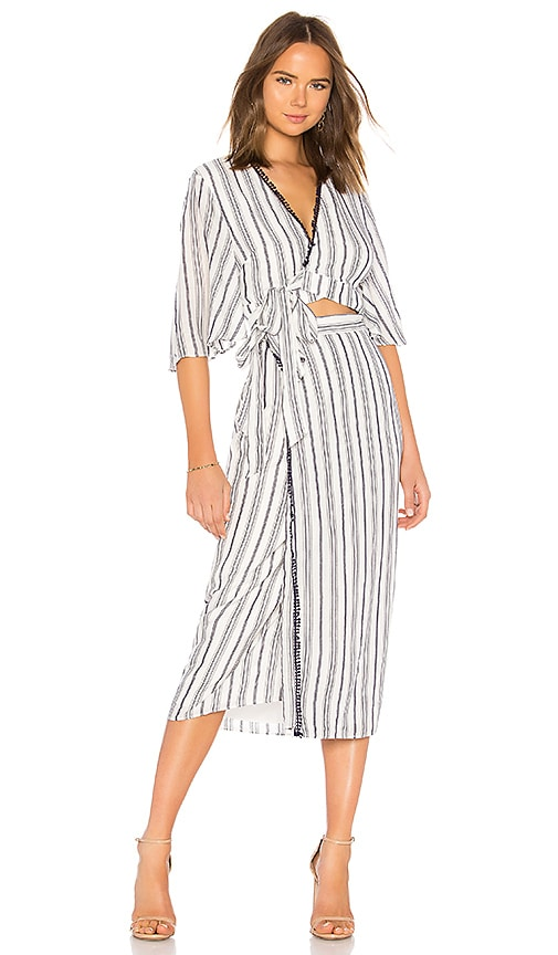 04a41e03cc62 THE JETSET DIARIES Aries Stripe Shirt Dress in Navy   Ivory