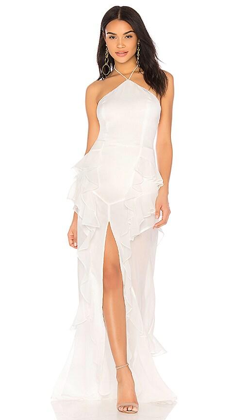 THE JETSET DIARIES Fara Halter Maxi Dress in Ivory