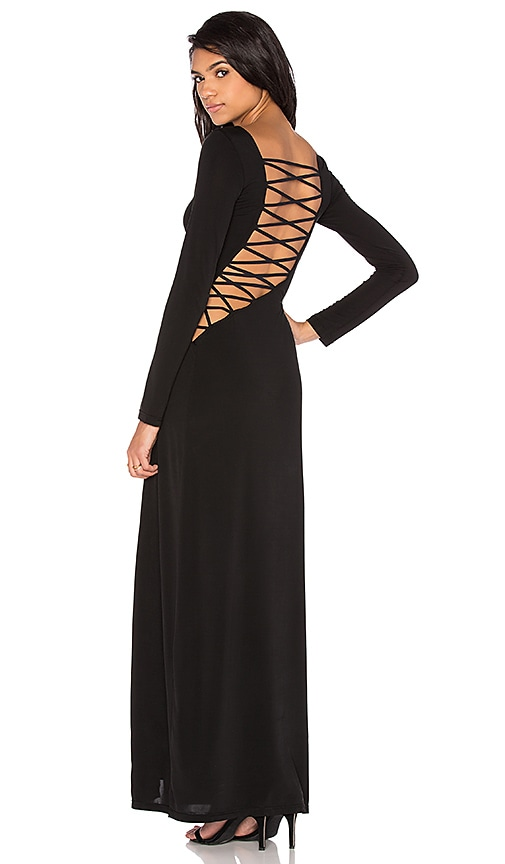 THE JETSET DIARIES Novella Lace Up Dress in Black