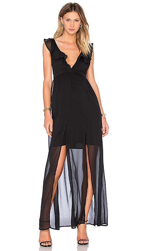 THE JETSET DIARIES Tanlines Maxi Dress in Black