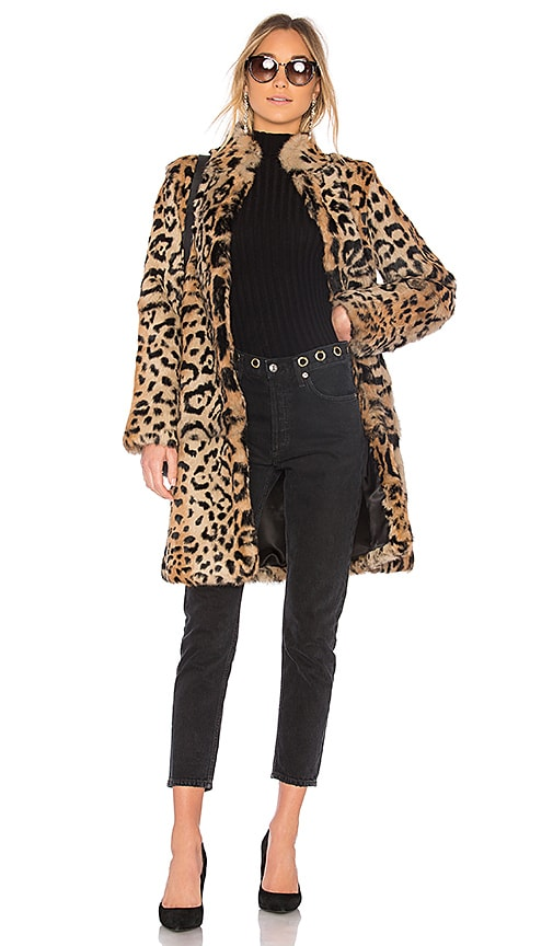 THE JETSET DIARIES Slade Rabbit Fur Coat in Brown