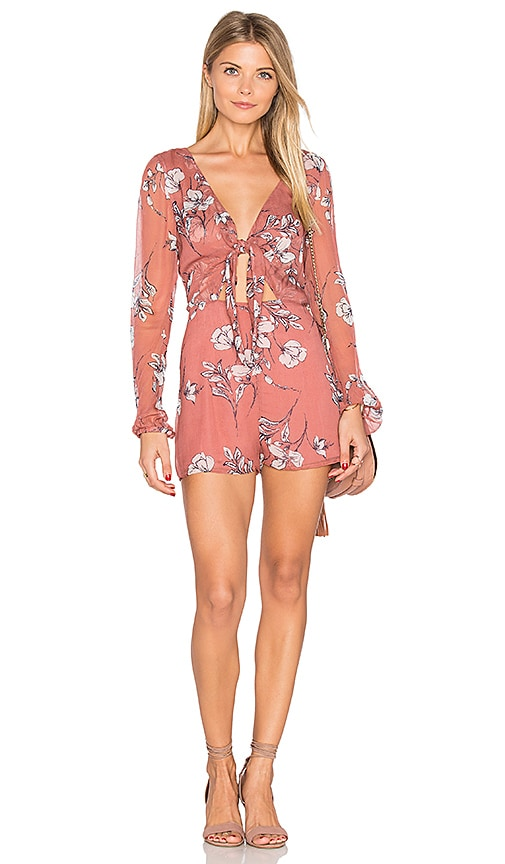 THE JETSET DIARIES Oasis Floral Romper in Coral
