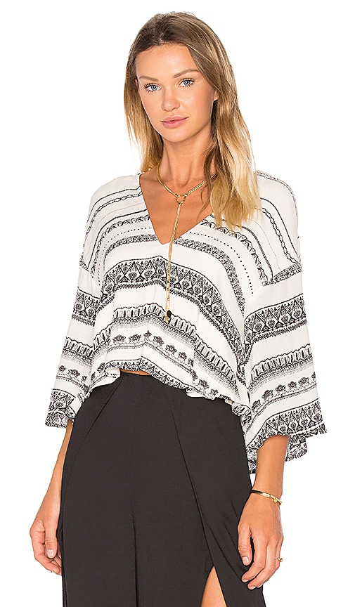 THE JETSET DIARIES Mosaic Stripe Top in White