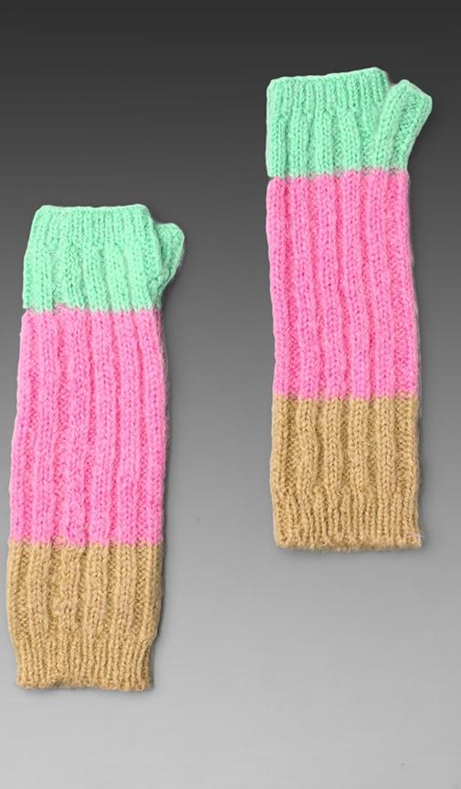 Mohair Colorblock Fingerless Gloves