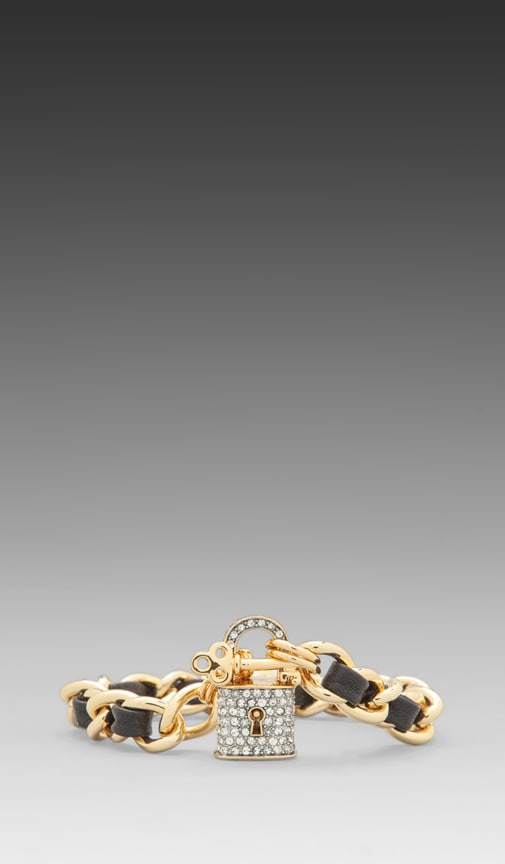 Beverly Hills Baroque Pave Padlock Leather and Chain Bracelet