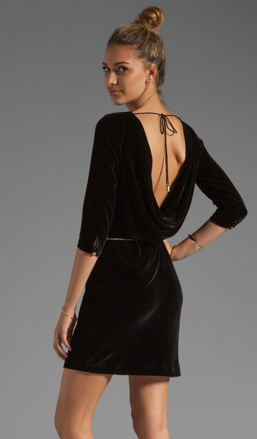 Velvet Cowl Back Dress