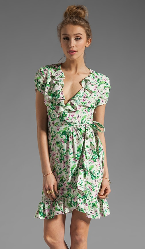 Allover Floral Wrap Dress