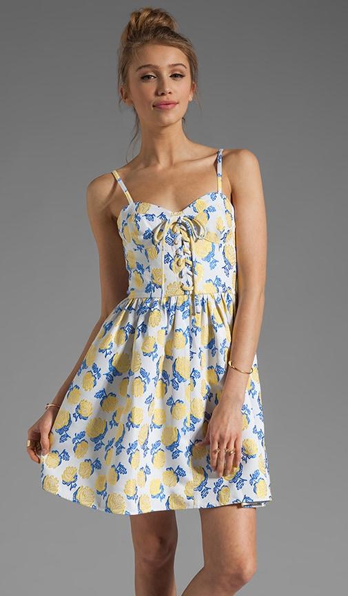 Bright Rose Jacquard Bustier Dress