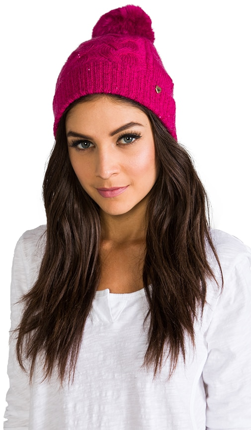 Sparkle Cable Beanie with Faux Fur