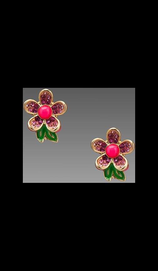 Colorful Pave Flower Stud Earring
