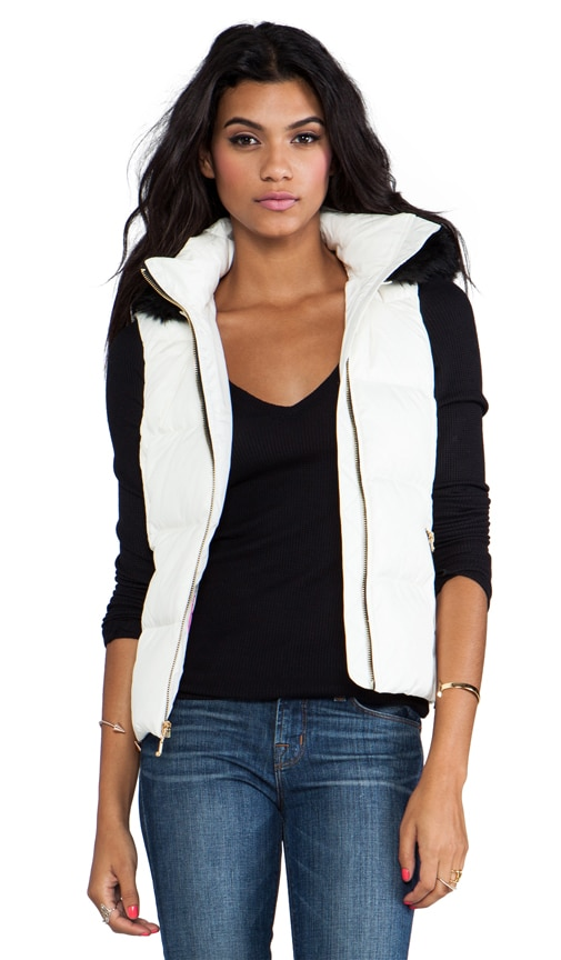 Lexie Nylon Vest with Faux Fur Trim