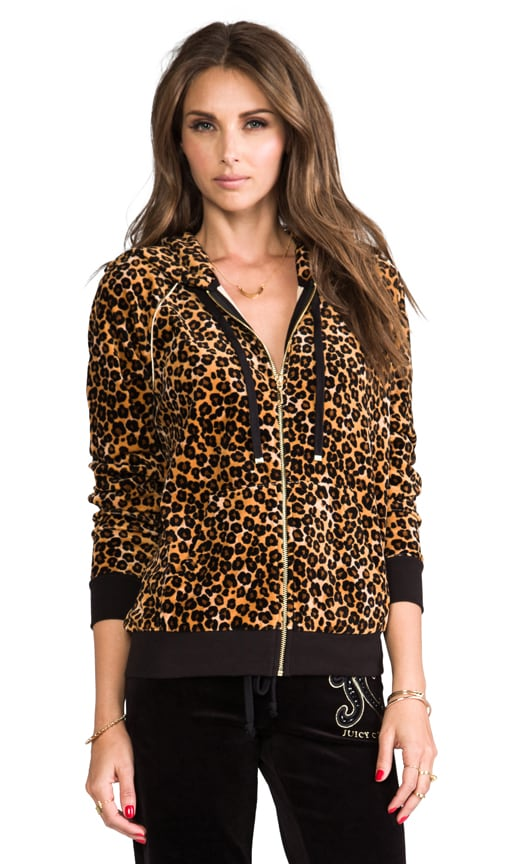 Casual Leopard Velour Relaxed Hoodie