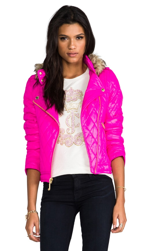 Diamond Quilt Moto Puffer Jacket w/ Faux Fur
