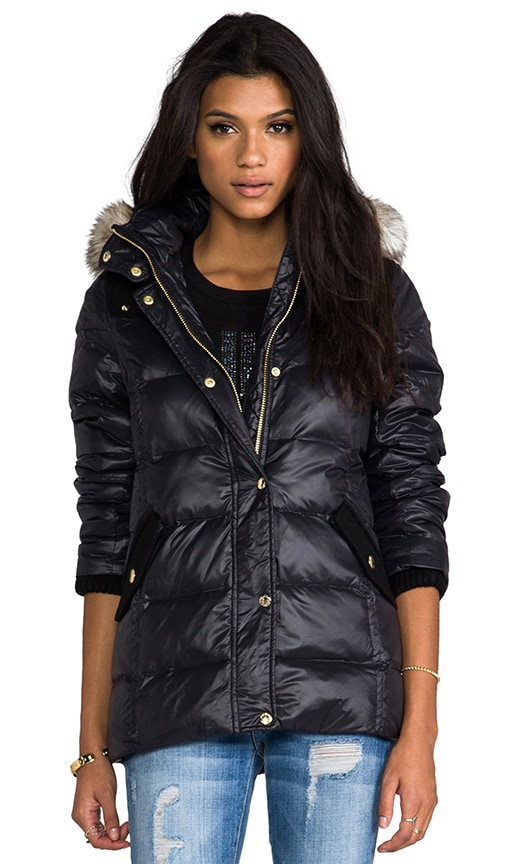 43dedb370135 Juicy Couture Long Puffer Jacket w  Faux Fur in Pitch Black