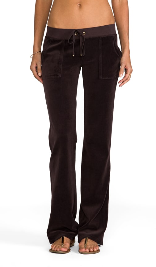 Velour Flared Leg Pant with Snap Pockets