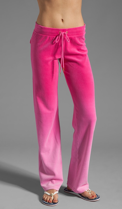 Juicy Couture Ombre Velour Track Pant In Passion Pink Ombre Revolve