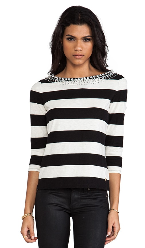 Sunset Stripe Knit Embellished Tee