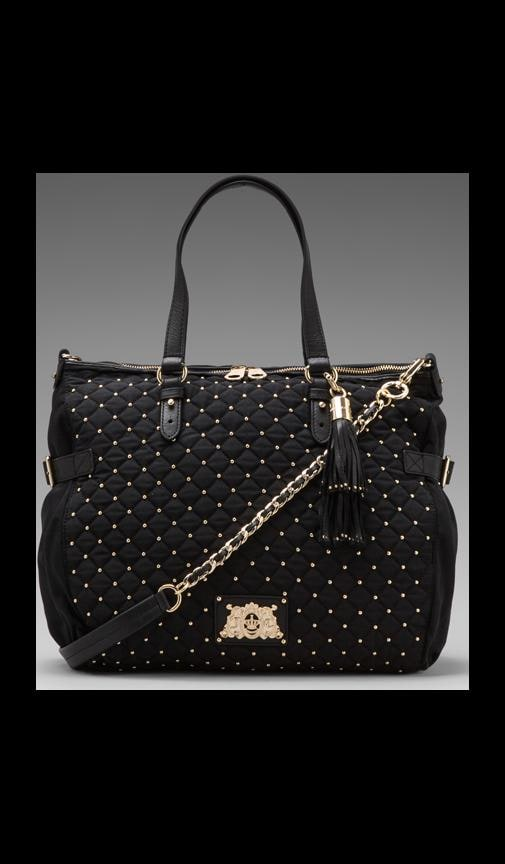 Quilted & Studded Nylon Lauryn Zip Top Tote