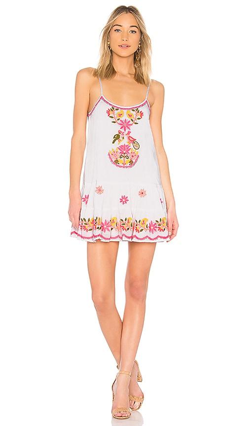 juliet dunn Embroidered Bird Dress in White