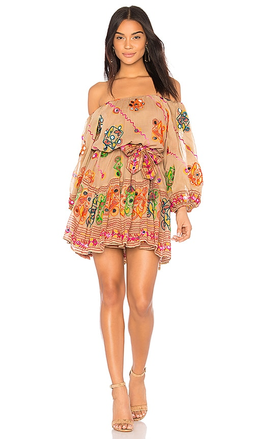 juliet dunn Tribal Boho Dress in Brown