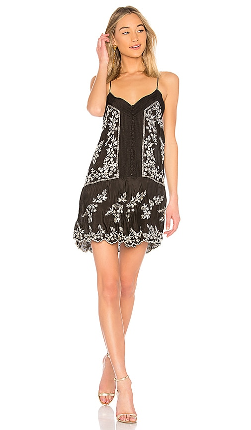 juliet dunn Embroidered Slip Dress in Black